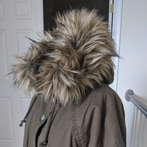 Army Green Parka with fur hood and sherpa lining
